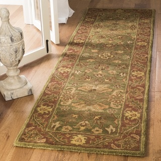 Safavieh Handmade Golden Jaipur Green/ Rust Wool Rug (2'3 x 8')