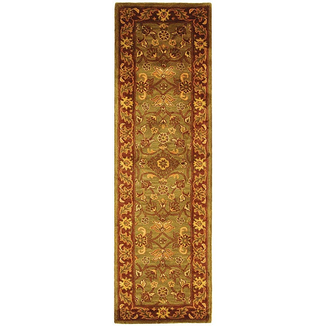 Safavieh Handmade Golden Jaipur Green/ Rust Wool Rug (2'3 x 8')