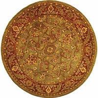Safavieh Handmade Golden Jaipur Green/ Rust Wool Rug (3'6 Round) - 3'6 Round