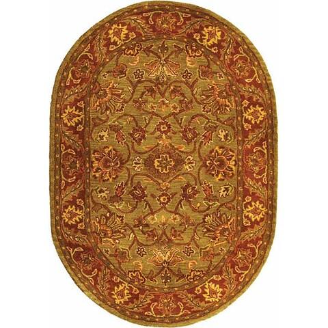 "Safavieh Handmade Golden Jaipur Green/ Rust Wool Rug - 4'6"" x 6'6"" Oval"