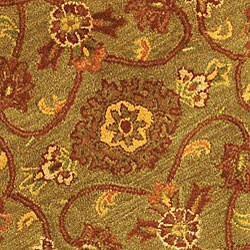 Safavieh Handmade Golden Jaipur Green/ Rust Wool Rug (6' Round) - Thumbnail 1