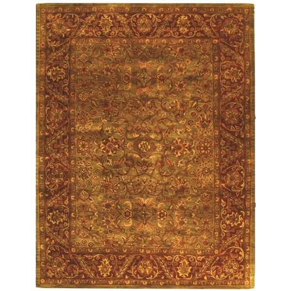 "Safavieh Handmade Golden Jaipur Green/ Rust Wool Rug - 7'-6"" x 9'-6"""