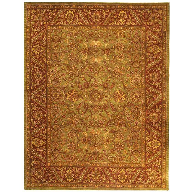 Safavieh Handmade Golden Jaipur Green/ Rust Wool Rug (7'6 x 9'6)