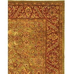 Safavieh Handmade Golden Jaipur Green/ Rust Wool Rug (7'6 x 9'6) - Thumbnail 2