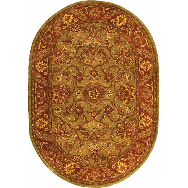 "Safavieh Handmade Golden Jaipur Green/ Rust Wool Rug - 7'6"" x 9'6"" oval"