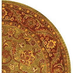Safavieh Handmade Golden Jaipur Green/ Rust Wool Rug (8' Round) - Thumbnail 2