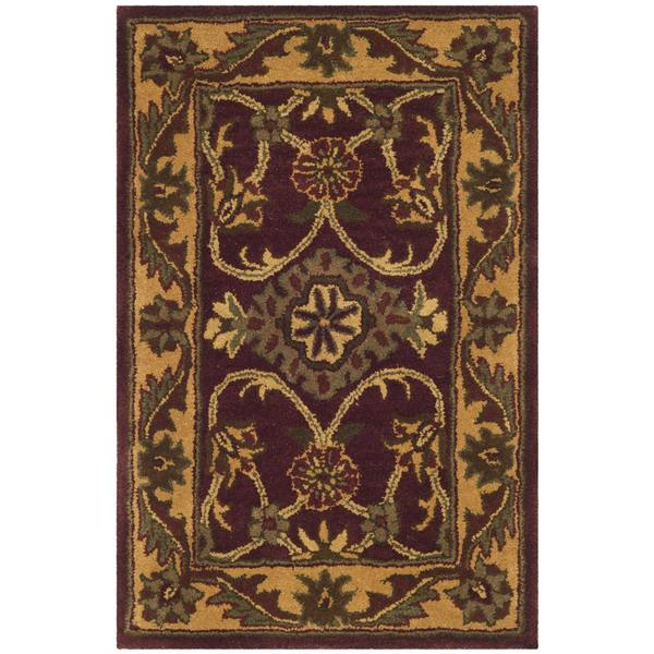 Safavieh Handmade Golden Jaipur Burgundy/ Gold Wool Rug (2' x 3')