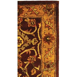 Safavieh Handmade Golden Jaipur Burgundy/ Gold Wool Runner (2'3 x 12') - Thumbnail 2