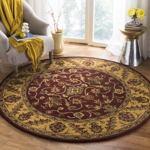 Safavieh Handmade Golden Jaipur Burgundy/ Gold Wool Rug (3'6 Round)