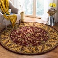 Safavieh Handmade Golden Jaipur Burgundy/ Gold Wool Rug (6' Round)