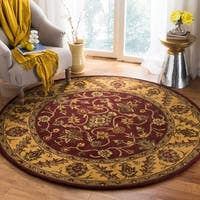 Safavieh Handmade Golden Jaipur Burgundy/ Gold Wool Rug - 8' x 8' Round