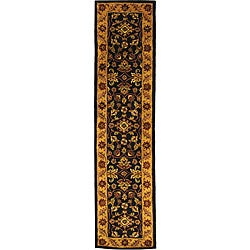 Safavieh Handmade Golden Jaipur Black/ Gold Wool Runner (2'3 x 8')