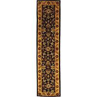 Safavieh Handmade Golden Jaipur Black/ Gold Wool Runner (2'3 x 8')