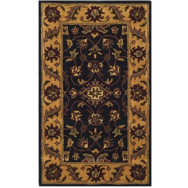 Safavieh Handmade Golden Jaipur Black/ Gold Wool Rug (3' x 5')