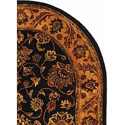 Safavieh Handmade Golden Jaipur Black/ Gold Wool Rug (4'6 x 6'6 Oval) - Thumbnail 2