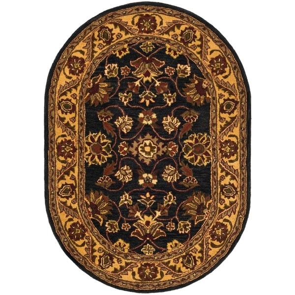 "Safavieh Handmade Golden Jaipur Black/ Gold Wool Rug - 4'6"" x 6'6"" oval"