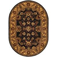 "Safavieh Handmade Golden Jaipur Black/ Gold Wool Rug - 7'6"" x 9'6"" oval"
