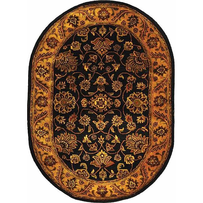 Safavieh Handmade Golden Jaipur Black/ Gold Wool Rug (7'6 x 9'6 Oval)