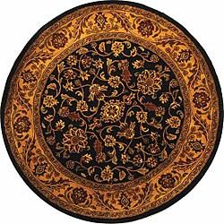 Safavieh Handmade Golden Jaipur Black/ Gold Wool Rug (8' Round)