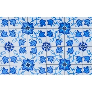 Flowery Turquoise Design Accent Mosaic Ceramic Tiles