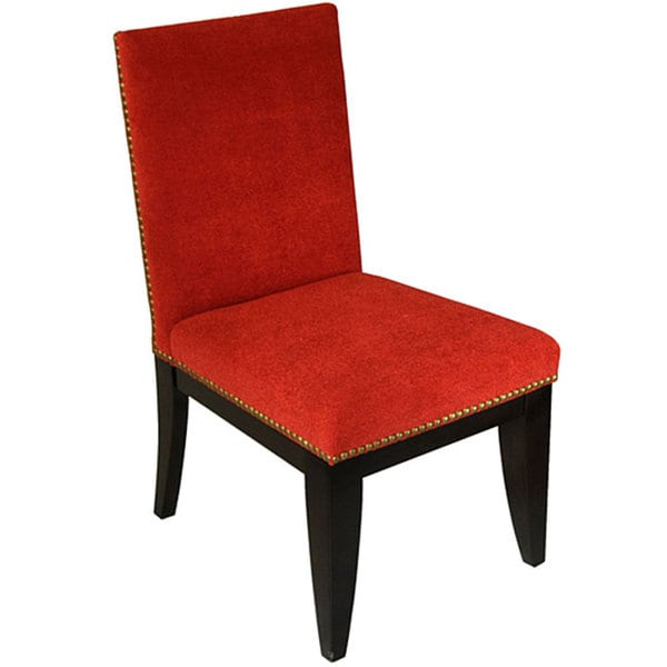 Montgomery Red and Black Nailhead Trim Dining Chair (Set of 2)