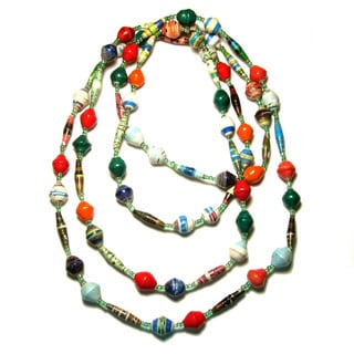 Handmade Long Recycled Paper Necklace (Kenya)
