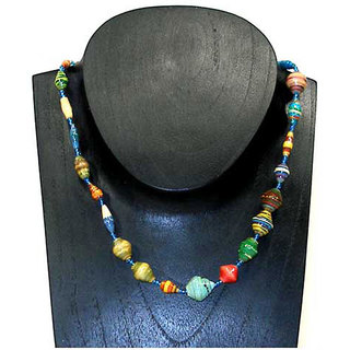 Kenyan 22-inch Varnished Multicolored Recycled Paper-beaded Necklace