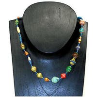 Handmade Kenyan 22-inch Varnished Multicolored Recycled Paper-beaded Necklace (Kenya)