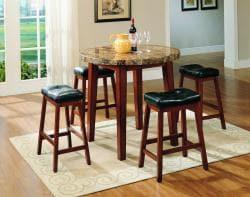 Furniture of America Lorelay Honey 5-piece Marble Pub Set - Thumbnail 2