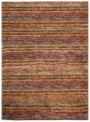 Safavieh Hand-knotted All-Natural Striped Red/ Multi Runner (2'6 x 10') - Thumbnail 2