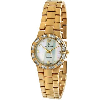 Peugeot Women's Round Goldtone Genuine Diamond Watch
