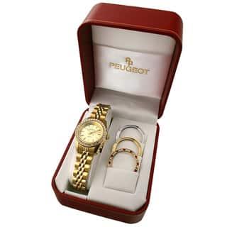 Peugeot Women's Goldtone Interchangeable Bezel Watch Set|https://ak1.ostkcdn.com/images/products/3600901/3600901/Peugeot-Womens-Goldtone-Interchangeable-Watch-Set-P11658055.jpg?impolicy=medium
