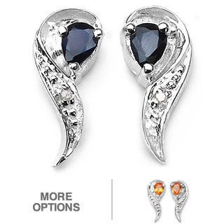 Malaika Silver Genuine Sapphire and Diamond Earrings