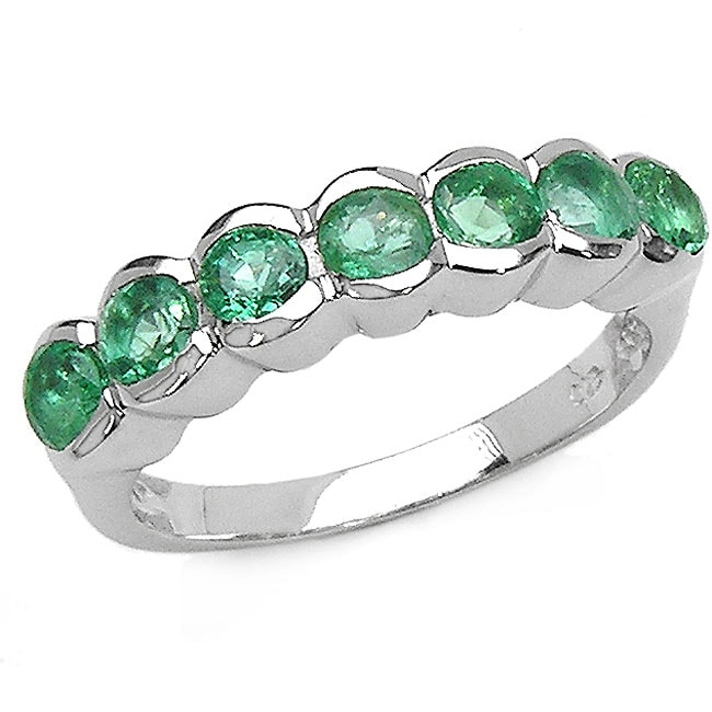 Malaika Sterling Silver 7-stone Emerald Ring