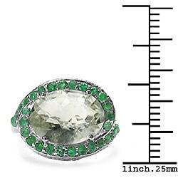 Malaika 5.75ctw Genuine Green Amethyst & Emerald Ring