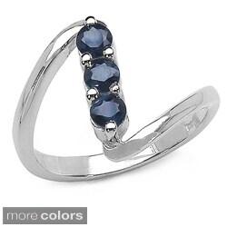 Malaika Sterling Silver Gemstone 3-Stone Ring