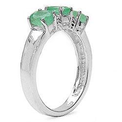 Malaika Sterling Silver Emerald 3-stone Ring - Thumbnail 1