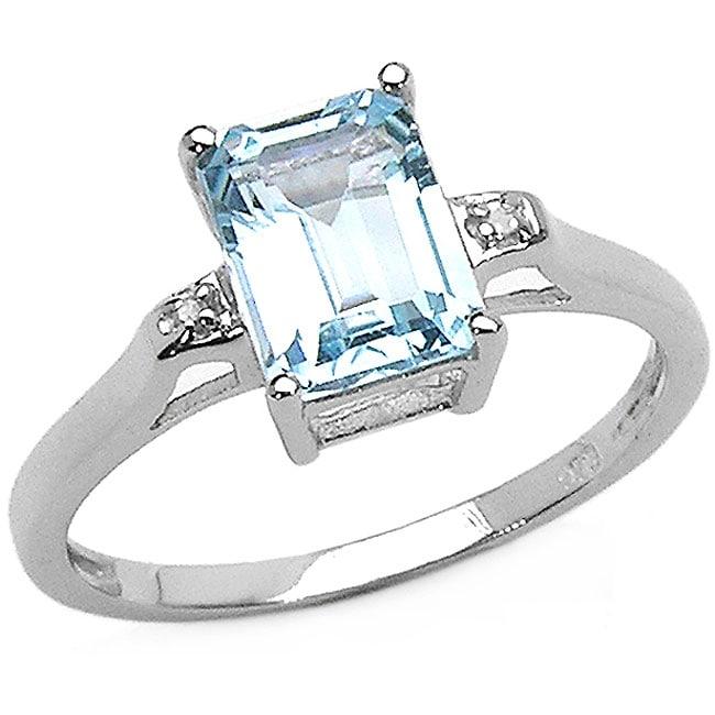 Malaika Sterling Silver Genuine Blue Topaz and Diamond Ring