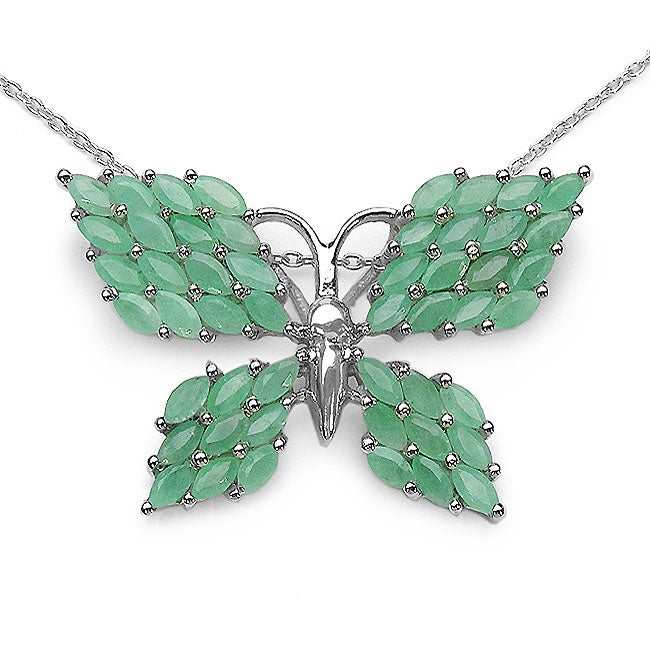 Malaika Sterling Silver Genuine Emerald Butterfly Necklace