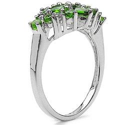 Malaika Sterling Silver Chrome Diopside/ White Topaz Ring - Thumbnail 1
