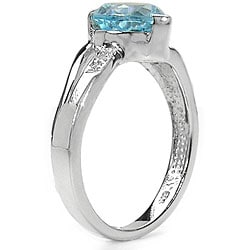 Sterling-silver 2.01-carat TGW Blue Topaz Ring with Diamond Accents - Thumbnail 1