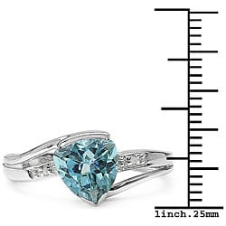 Sterling-silver 2.01-carat TGW Blue Topaz Ring with Diamond Accents - Thumbnail 2