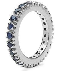 Malaika Sterling Silver Sapphire Eternity Ring - Thumbnail 1