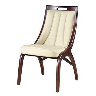 Barrel Cream Leather Dining Chairs (Set of 2) - N/A