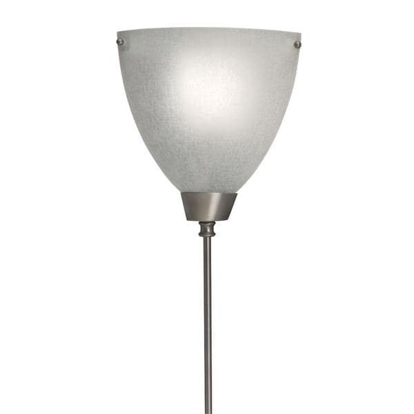 Corner Pin-Up, Plug-In Lamp w/ Pewter Finish and Glass Shade