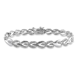 Miadora Sterling Silver 1ct TDW Diamond Heart Link Bracelet