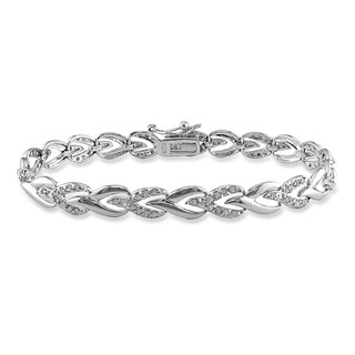 Miadora Sterling Silver 1ct TDW Diamond Heart Link Bracelet