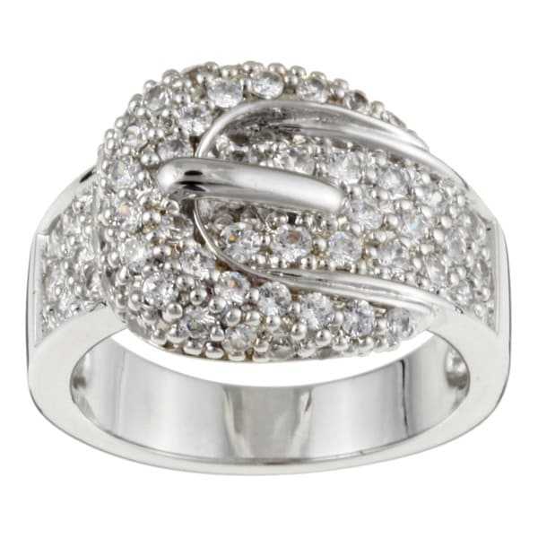 NEXTE Jewelry 14k White Goldplated CZ Boza Belt Buckle Cocktail Ring