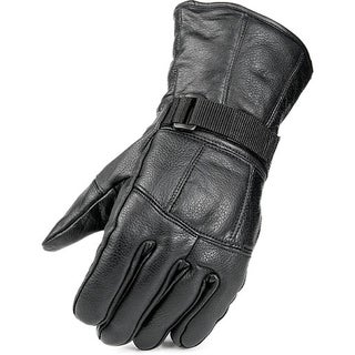 Raider Men's Black Leather Fleece-lined Gloves with Adjustable Wrist Closure (2 options available)