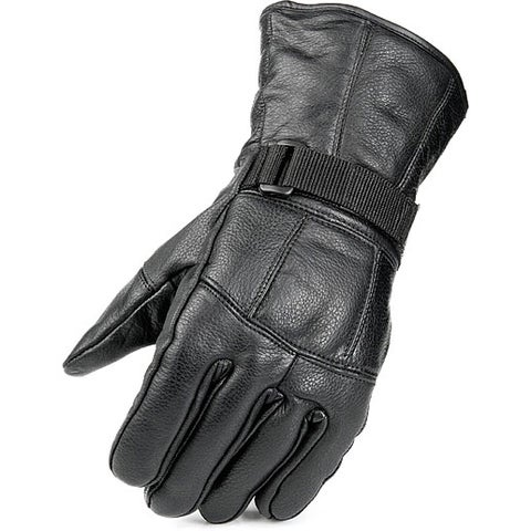 Raider Men's Black Leather Fleece-lined Gloves with Adjustable Wrist Closures